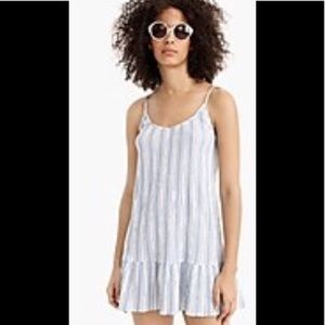 J. Crew beach dress blue white stripe small NWT